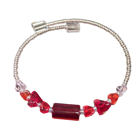 Stephanie Softich Red and Clear Beaded Adjustable Wire Bracelet
