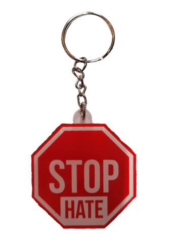 The Blue Ribbon Lounge Stop Hate keychain