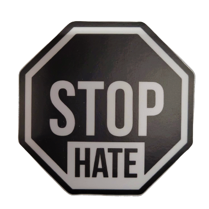 The Blue Ribbon Lounge Stop Hate Sticker