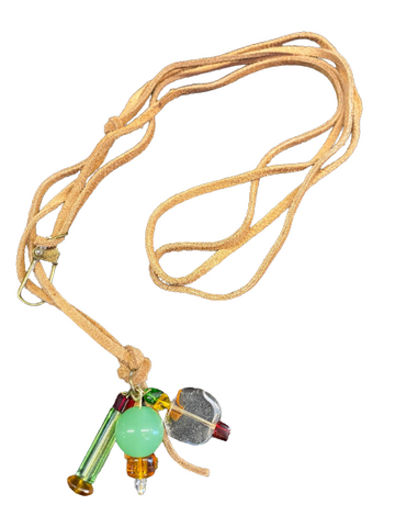 Stephanie Softich Clear Square, Green Tubular and Round Beaded Leather Necklace