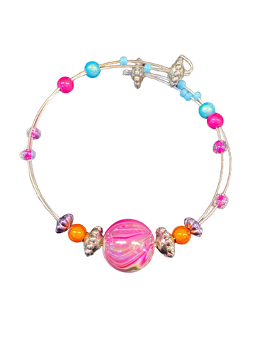 Stephanie Softich Pink and White Bead Adjustable Wire Bracelet