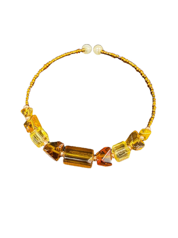 Stephanie Softich Yello and Amber Colored Beaded Adjustable Wire Bracelet