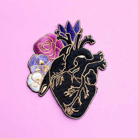 Glitter Punk Anatomical Heart Embroidered Iron-on Patch