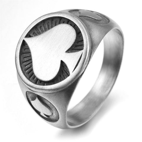 Silver Ace of Spades Ring