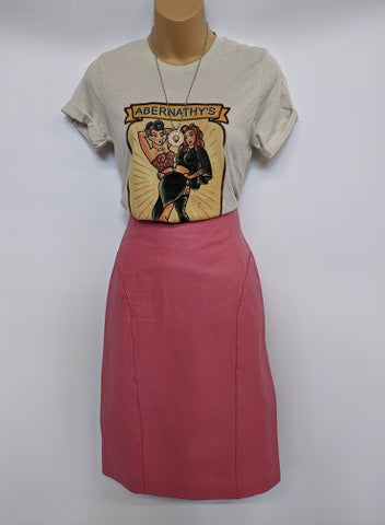 Size Small Vintage Pink Leather Skirt Brand Chia