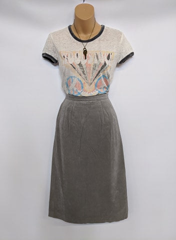 Size Small Vintage Gray Suede Leather Skirt