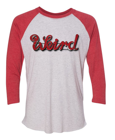 Abernathy's Weird sign Red and White Raglan Unisex Tshirt