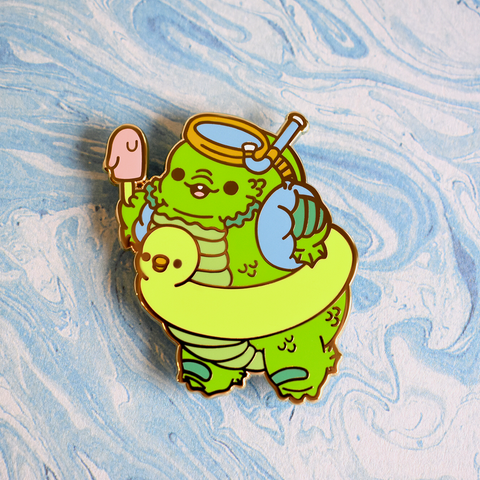 Bright Bat Creature Goes to the Lagoon Enamel Pin