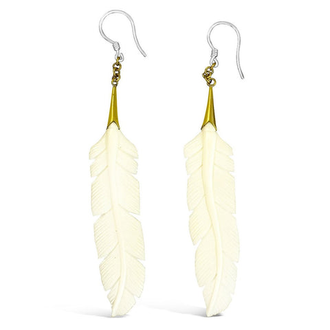 Coco Loco Navajo Feather Earrings in Bone