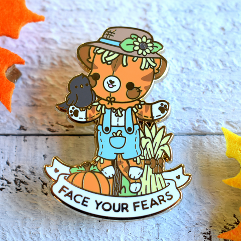 Bright Bat Face Your Fears Scarecrow Cat Enamel Pin