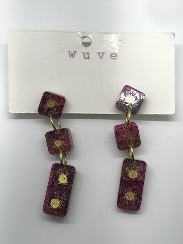 WUVE Magenta and Gold Segmented Resin Earrings