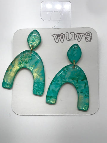 WUVE Blue Green Watercolor with Gold Arch Dangle Resin Earrings