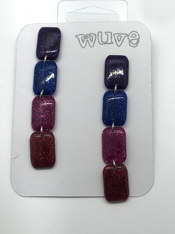 WUVE Multi colored Glitter Dangle Earrings