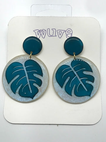 WUVE Teal Blue Green Monstera Leaf Resin Earrings