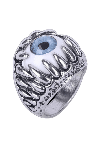 Silver Eyeball in Teeth Ring