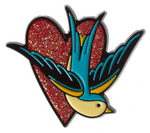 Sourpuss Sparrow Heart Pin