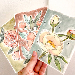 Watercolor Floral Cards To Brighten the Day | printable template | Beverly Gurganus Fine Art