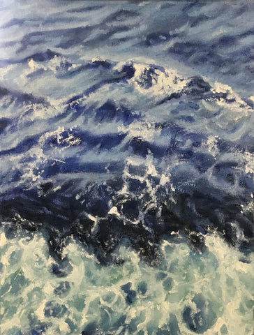 Ocean, waves, tropical, bahamas, oil painting, beverly gurganus art