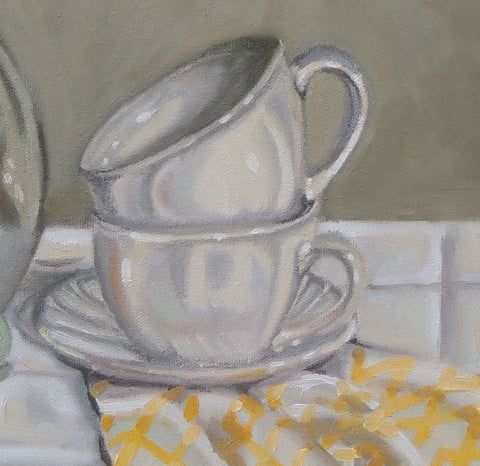 tea cups and saucer oil painting by beverly gurganus