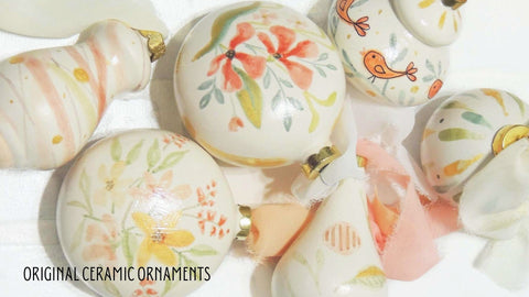 hand painted ceramic ornaments | Beverly Gurganus Fine Art