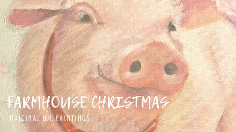 Farmhouse Christmas | farm animal paintings | Beverly Gurganus Fine Art