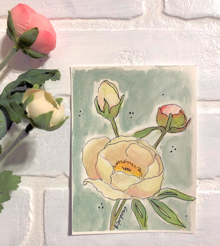 floral | watercolor mini painting | Beverly Gurganus Fine Art