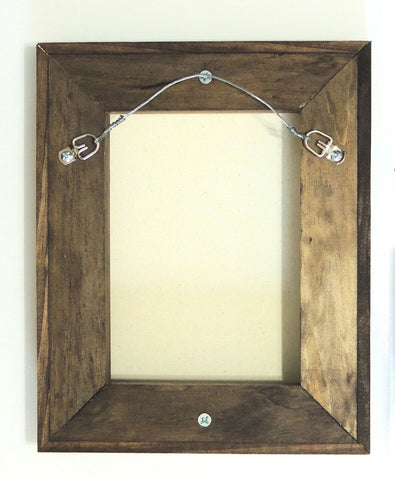 float frame with walnut finish