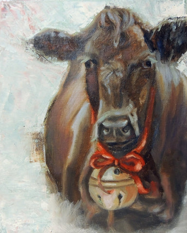 Christmas Divine Bovine | Cow painting | Beverly Gurganus Fine Art