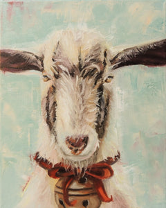 Glorious Christmas Goat | goat painting | Beverly Gurganus Fine Art