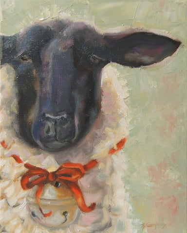 Lovable Christmas Lamb | Lamb painting | Beverly Gurganus Fine Art
