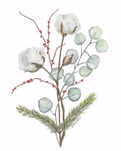 Christmas Cotton original watercolor painting