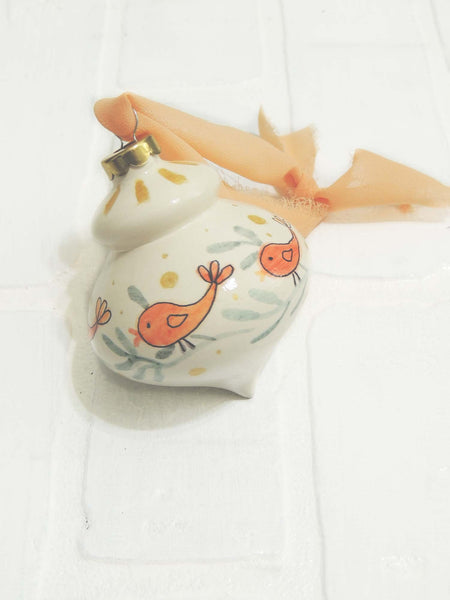 Birdie | hand painted ceramic ornaments | Beverly Gurganus Fine Art