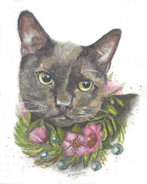 Eclipse | pet portrait in watercolor | Beverly Gurganus Fine Art