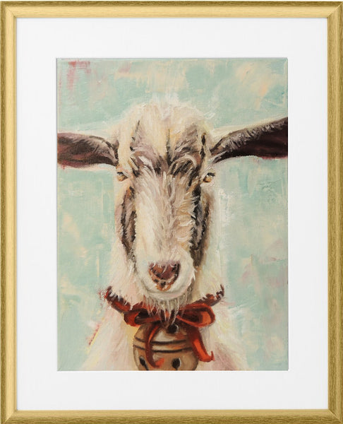 Glorious Goat | Christmas goat art print | Beverly Gurganus Fine Art