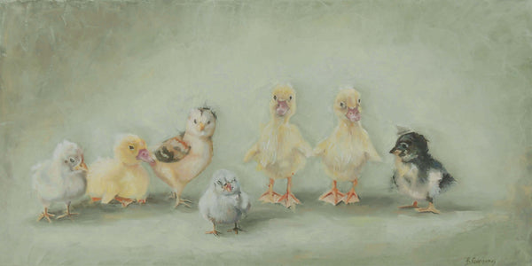 Mixed Company | chicken and duck painting | Beverly Gurganus Fine Art