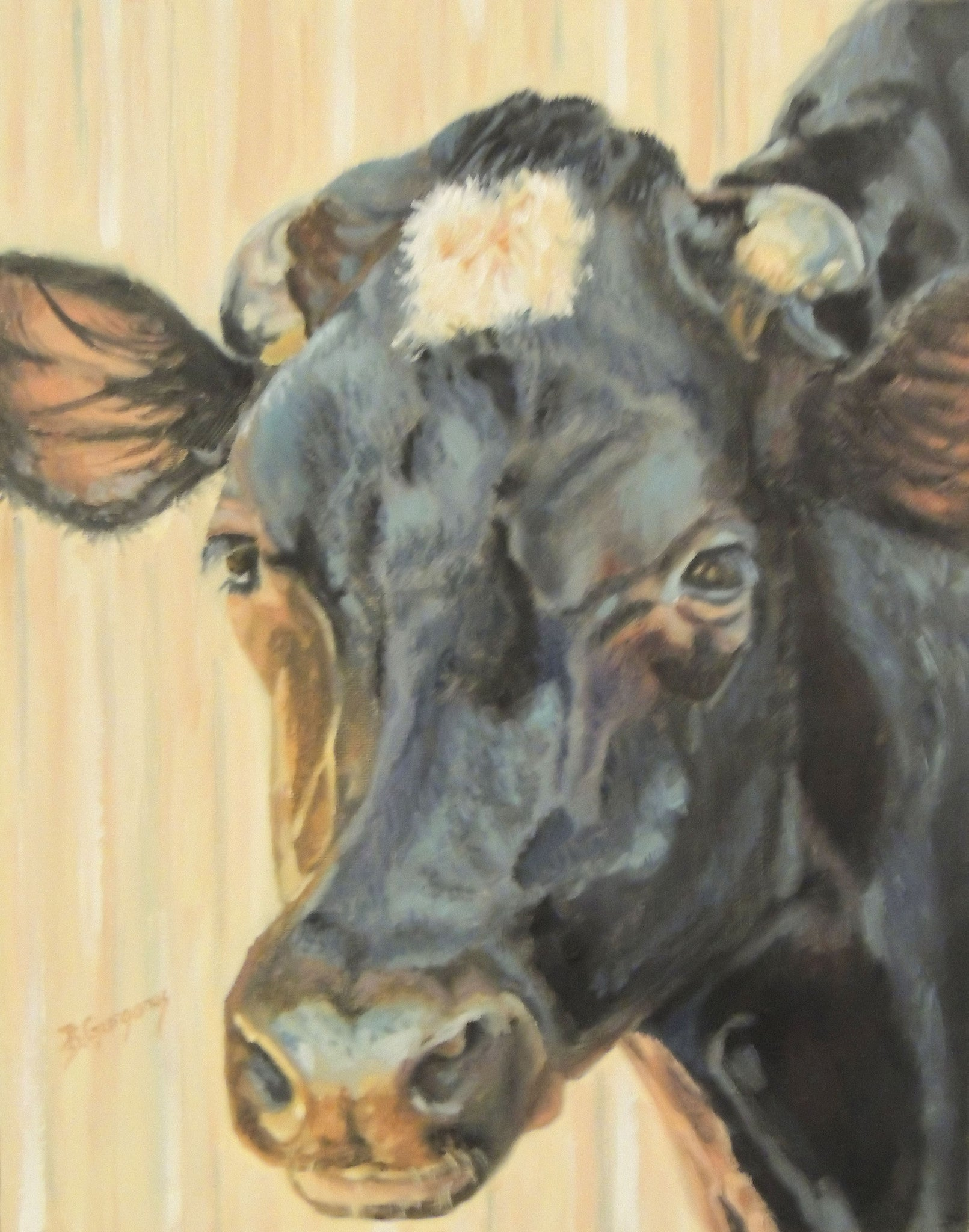 Moo-cella | original cow painting | Beverly Gurganus Fine Art