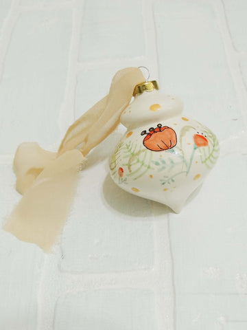 Poppy | hand painted ceramic ornament | Beverly Gurganus Fine Art