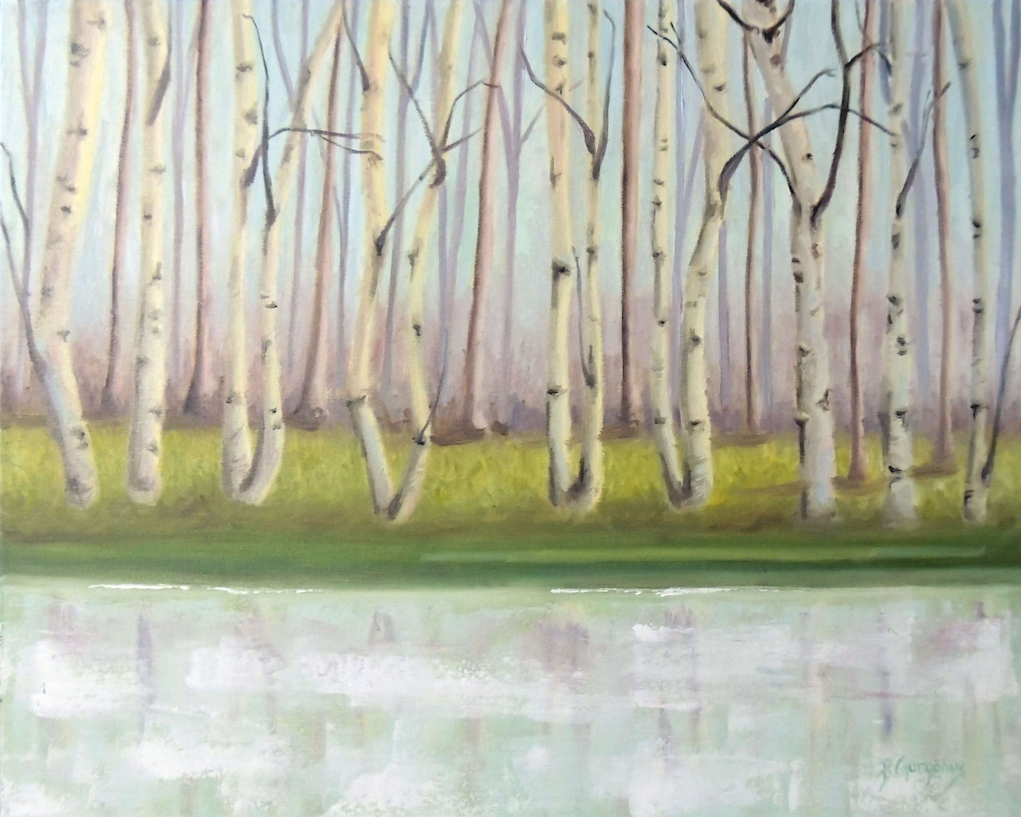 River Birch | lake art by Beverly Gurganus Fine Art