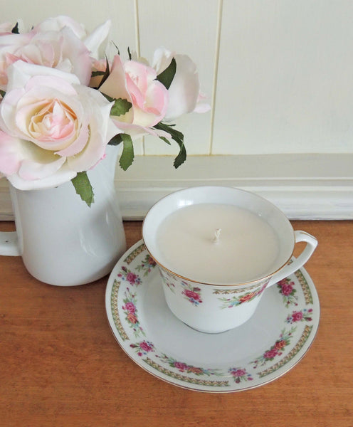 Sea Salt and Orchid in Rose Teacup | Hand Poured Soy Candle | Beverly Gurganus Fine Art and Home