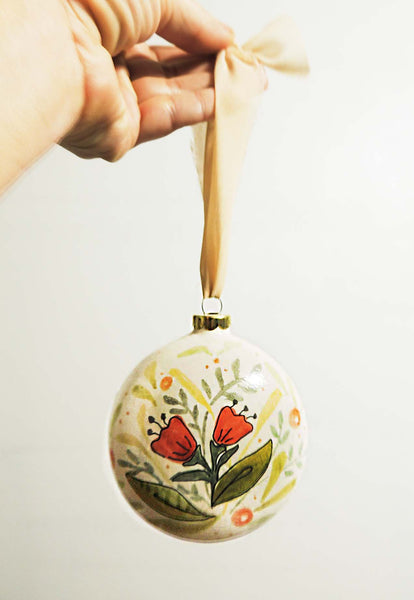 Ruby | hand painted ceramic ornament | Beverly Gurganus Fine Art