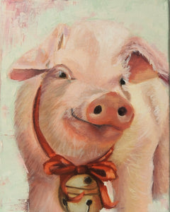 Some Christmas Pig | pig art print | Beverly Gurganus Fine Art