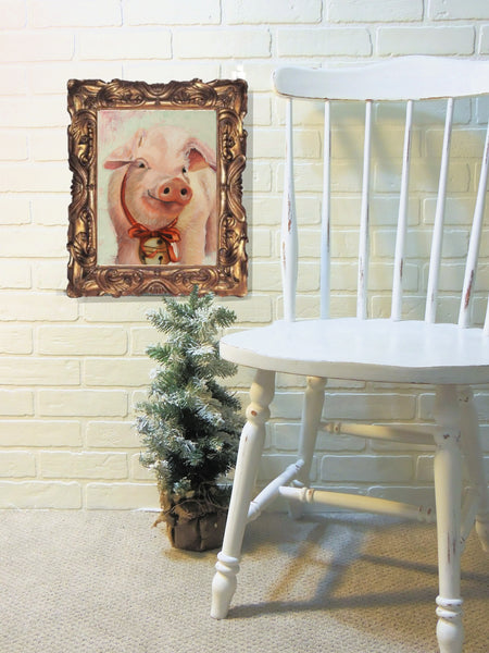 Some Christmas Pig | pig painting | Beverly Gurganus Fine Art