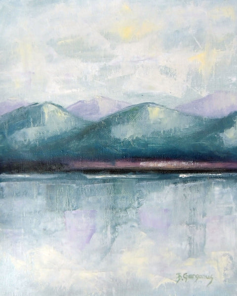Teal Mountains | lake art by Beverly Gurganus Fine Art