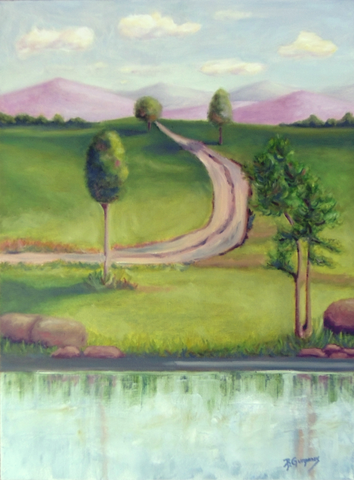 The Narrow Road | lake art by Beverly Gurganus Fine Art