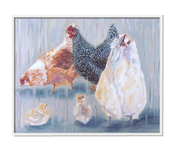 The Girls | chicken painting | Beverly Gurganus Fine Art