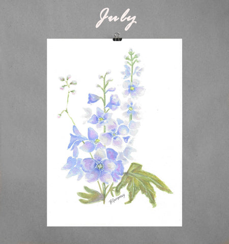 July's Larkspur | Free Printable Art | Beverly Gurganus Fine Art