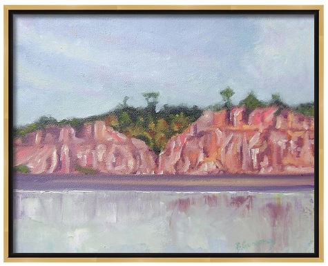 pink mountains | lake painting by Beverly Gurganus