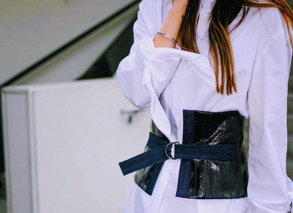 denim and eelskin corset belt