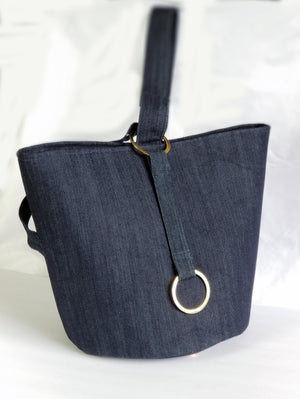 Denim Bucket Tote Bag