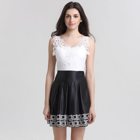 Sleeveless Summer V-neck Lace Patchwork Dress
